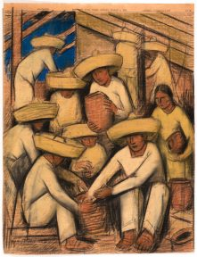 A mixed media drawing on newsprint showing a workshop of Mexican pottery makers, all dressed in white clothes with sombreros