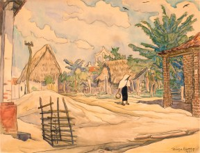 A landscape in earth towns of a rural town with thatched roof house and lush trees. A woman wearing a white shawl walks with a basket in hand.