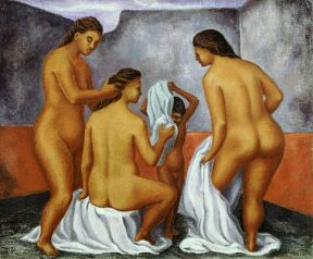 A painting of three nude women a child bathing