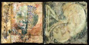 Mixed media artwork with two panels. The right panel shows a curled fetus and the left shows an abstract composition