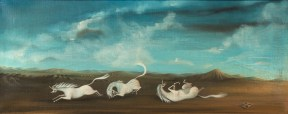 A painting of three white unicorns rolling around on the ground. In the distance are hills against a bright blue sky with fluffy clouds.