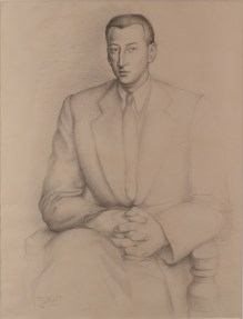 A delicate pencil portrait of a man in a suit seated with his hands on his lap