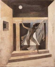 An oil painting depicting a theatrical figure in a doorway on a windy, moonlit night.