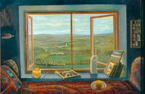 Painting of a daybed in front of a window open to a view of green fields