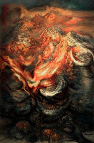 Painting of flames engulfing a mountaintop