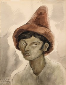A watercolor in earth tones of a man's head and shoulders. He wears a large pointed brown hat.