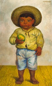 Painting of a little boy wearing a hat and holding a green ball