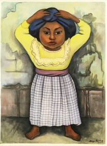 A watercolor of a girl in a checked skirt and bright yellow blouse holding a blue bundle on her head.