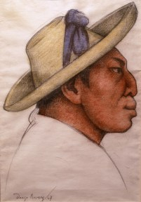 A colored drawing of a Mexican man, shown in profile, wearing a yellow hat with a blue cloth tied on the front.