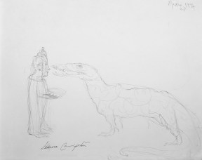 Sketch of a woman feeding a large crocodile as tall as her