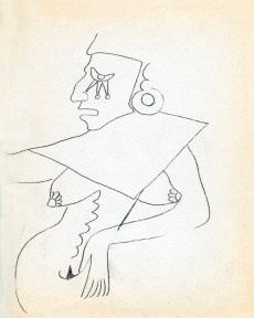 Surrealist sketch of Pre-Columbian figures by Gunther Gerzso