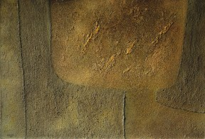 An abstract painting with a textured surface rendered in gold, green and brown tones