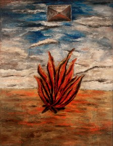 A suurealist oil painting with a large burning bush in the foreground of an imaginary landscape.