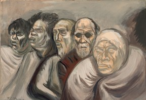 A watercolor fo five beggars standing in a row.