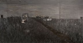 An oil painting of a grey and black landscape, populated by tiny figures and chairs.