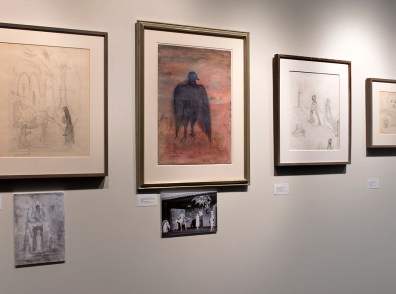 Installation shot of drawings by Leonora Carrington in the front gallery