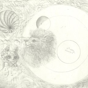 A pencil drawing with the heads of a spotted leopard and a lion, floating in a planetary space with spheres and circles.