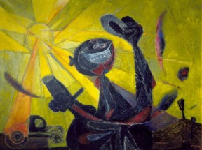 Painting showing a man exuberantly holding his hat up against a bright green sky