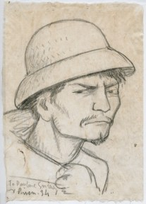 A sketch of a man wearing a hard hat, scowling at the viewer.
