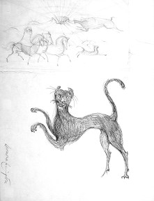 Pen and ink drawing of a leaping black cat with a hunting scene above it