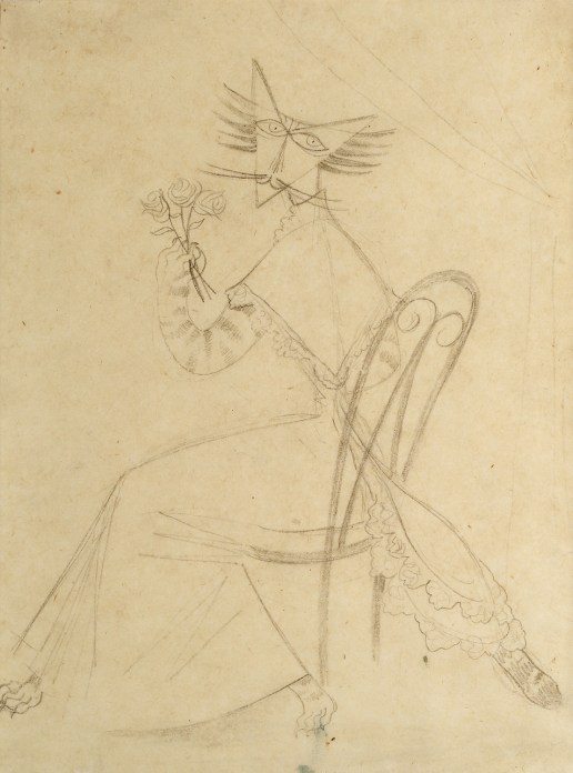 Pencil drawing of a cat wearing a dress, seated on a chair