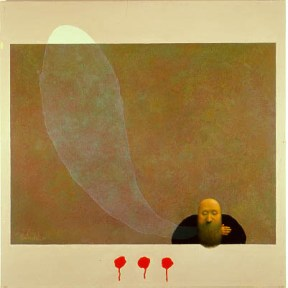 A bearded, bald man sitting at the bottom edge of a gold rectangle. Next to him is a translucent ovoid shape.