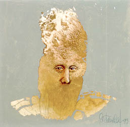 A man's face appears on the front of a blotchy form made of gold leaf paint.