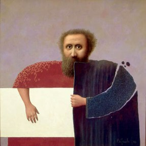 A bearded man wears a coat of two color. Under his arm is a white rectangle.