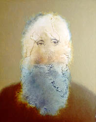 A portrait of an old, bald man. The lower half of his face seems to dissolve into an amorphous blue form.