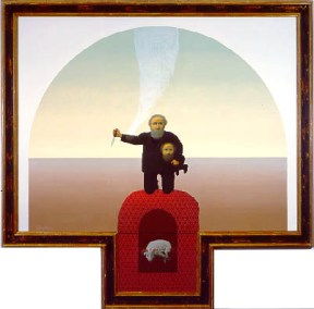 A painting of a man holding his own head under his arm stands on a red pedastal.
