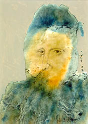 A portrait of an old man with a blurred face