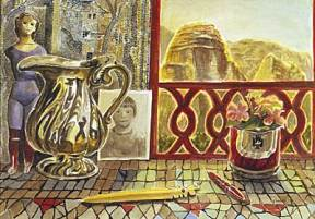 Painting of a silver pitcher, pencils, a doll, and a small flower pot in front of a window