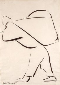 A brush and ink sketch of a man hunched over from the weight of the bundle he carries on his back.