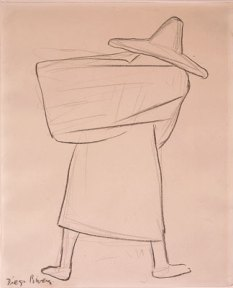 A sketch of a peasant carrying a bundle on her back.