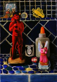Painting of a red devil figurine, a broken angel statue, and a bottle of Elmer's glue on a blue tile shelf