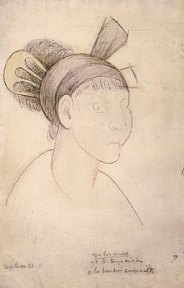 Pencil sketch of a woman with her hair in a headwrap and comb
