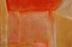 An abstract oil painting in reds, oranges and yellows.