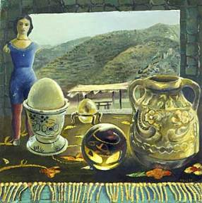 A painting of a doll, an egg cup and a vase against a mountain landscape