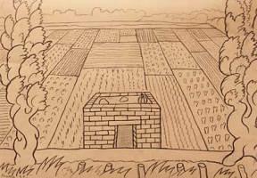 Bold, geometric drawing of a small house set on a farm