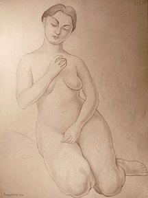 Pencil sketch of a seated nude woman with downturned eyes