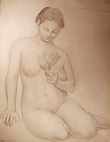 Pencil sketch of a seated nude woman gazing at a flower in her hand
