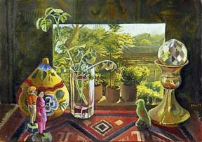 A painting of small objects and a photograph of a lush landscape on a shelf