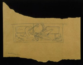 A fragment of a pencil sketch for a mural by Diego Rivera