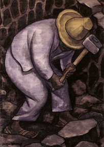 Watercolor of a stone mason working in blue work clothes and a yellow hat