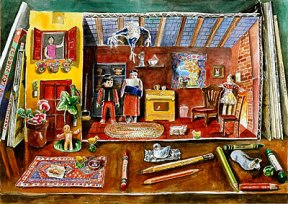 Painting of a paper house front with toys and pencils on the shelf it sits on