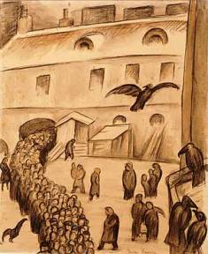 Drawing of a tightly packed procession of people entering a building