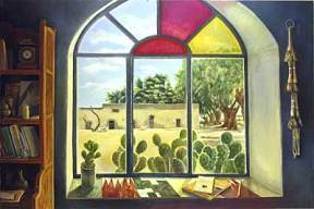 Painting of an arched stained glass window overlooked a courtyard with cactuses