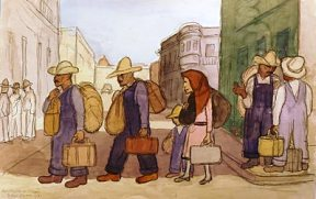 A watercolor showing immigrants carrying their suitcases as they walk down the street, obviously dislocated from their homes.