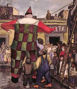 A watercolor depicting a large puppet figure at a street celebration.
