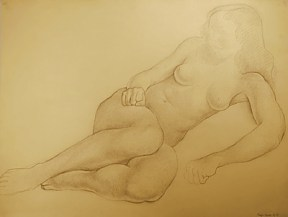 Pencil drawing of a nudge woman lying on her side with her knees pulled up